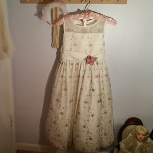 Cinderella Size 10 White Pink Flower Formal Dress